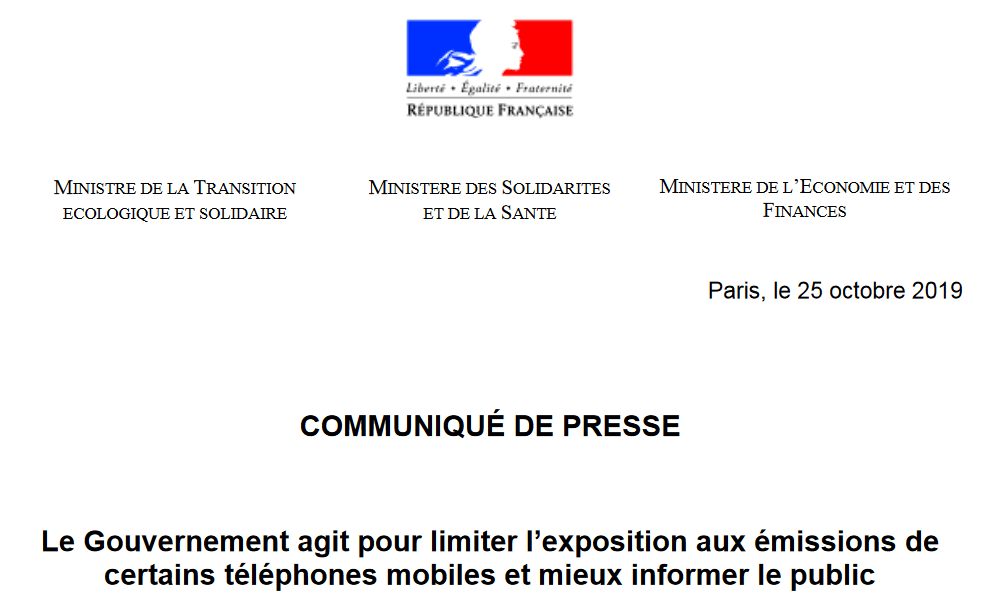 French ministerial announcements: an important step in our actions to protect the health of mobile phone users